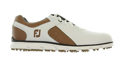 New Mens Golf Shoe Footjoy Pro SL Medium 9.5 White/Brown MSRP $160