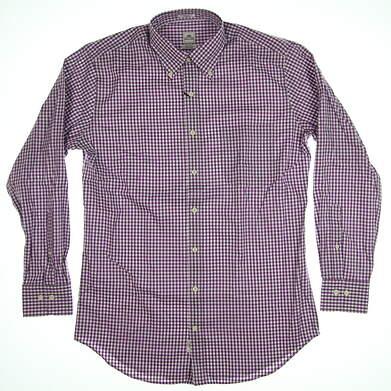 New Mens Peter Millar Button Up Medium M Purple/White MSRP $125 MC0W00CBL
