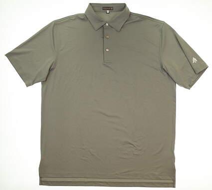 New W/ Logo Mens Peter Millar Golf Polo X-Large XL Gray MSRP $79 MF17EK01S