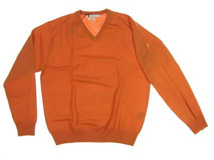 New W/ Logo Mens Peter Millar Golf Sweater Medium M Orange MSRP $150 MF14S31