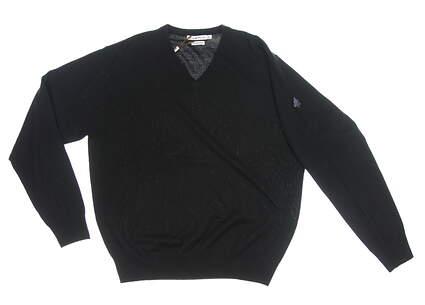 New W/ Logo Mens Peter Millar Golf Sweater Medium M Black MSRP $150