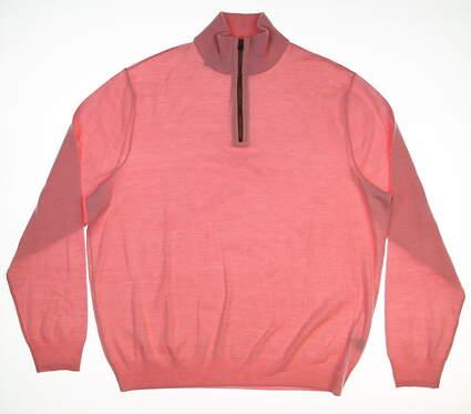 New Mens Ralph Lauren 1/4 Zip Sweater X-Large XL Pink MSRP $195 0154395