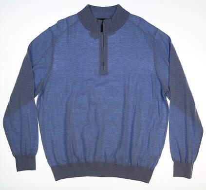New Mens Fairway & Greene Baruffa Merino 1/4 Zip Sweater X-Large XL Blue MSRP $175