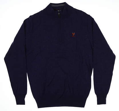 New W/ Logo Mens Peter Millar1/4 Zip Merino Wool Golf Sweater Small S Purple MSRP $198