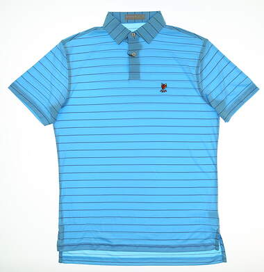 New W/ Logo Mens Peter Millar Featherweight Golf Polo Small S Blue MSRP $85 MS18EK45S