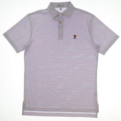 New W/ Logo Mens Peter Millar Striped Performance Golf Polo Small S Pink/Blue/White MSRP $89 MF18EK52S