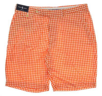 New Mens Ralph Lauren Links Fit Golf Shorts Size 36 Orange/White MSRP $89