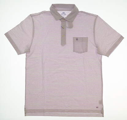 New W/ Logo Mens Peter Millar Seaside Collection Golf Polo Small S White/Purple MSRP $88 MS18K72P