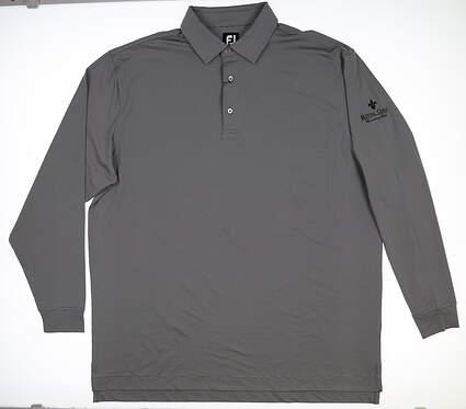 New W/ Logo Mens Footjoy Long Sleeve Golf Polo XX-Large XXL Black MSRP $102