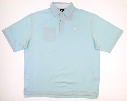 New W/ Logo Mens Footjoy Golf Polo X-Large XL Blue MSRP $85
