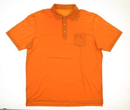 New W/ Logo Mens Peter Millar Seaside Wash Polo X-Large XL Orange MSRP $78
