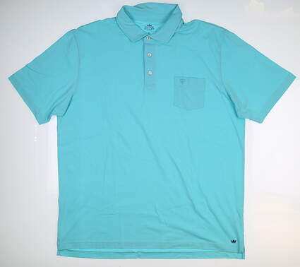 New W/ Logo Mens Peter Millar Seaside Wash Polo X-Large XL Blue MSRP $78