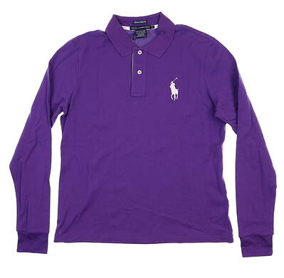 New Womens Ralph Lauren Long Sleeve Golf Polo Large L Purple MSRP $101