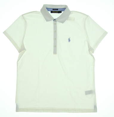 New Womens Ralph Lauren Classic Fit Golf Polo Medium M White MSRP $90