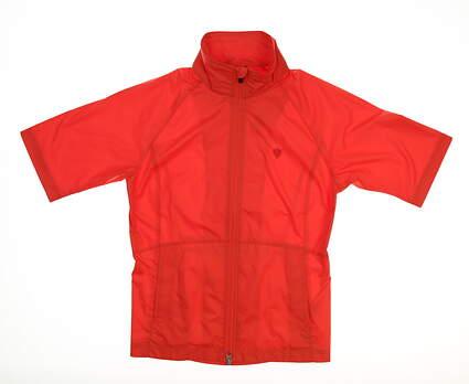 New W/ Logo Womens Zero Restriction Short Sleeve Wind Jacket X-Small XS Orange MSRP $89