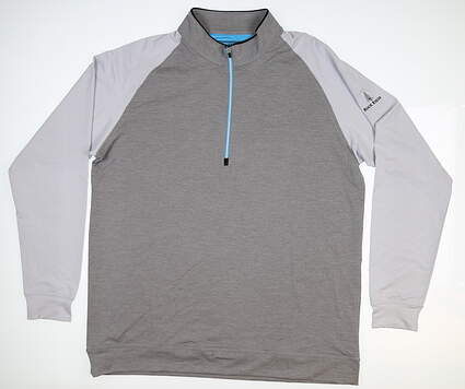 New W/ Logo Mens Straight Down 1/4 Zip Golf Pullover Large L Gray 60372 MSRP $85