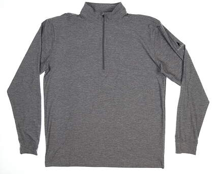 New W/ Logo Mens Straight Down 1/4 Zipper Pullover Large L Gray 60372 MSRP $85