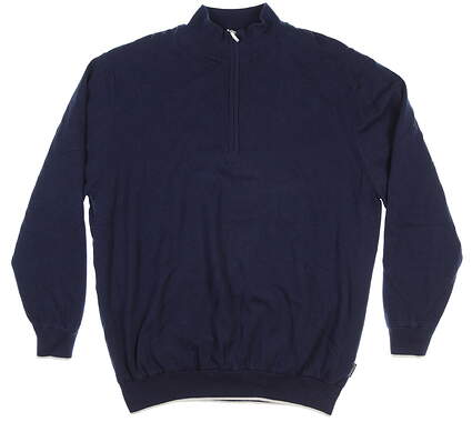 New Mens Sun Mountain 1/4 Zip Lined Sweater X-Large XL Navy Blue GALE FORCE MSRP $140