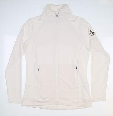 New W/ Logo Womens Peter Millar Jacket Medium M White MSRP $116