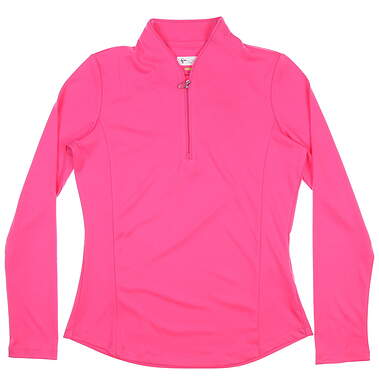 New Womens Greg Norman 1/4 Zip Long Sleeve Golf Pullover Small S Pink TL107586 MSRP 80.00