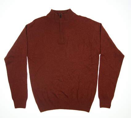 New Mens Peter Millar 1/4 Zip Sweater Large L Burnt Orange MSRP $159.99