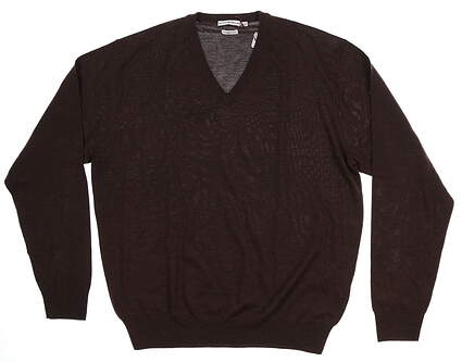 New Mens Peter Millar Sweater Large L Chocolate Brown MF14S31 MSRP $130