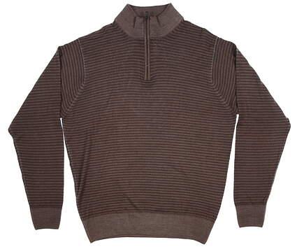 New Peter Millar Mens Golf 1/4 Zip Sweater Brown Medium-M MF5S68 MSRP $160