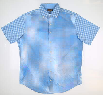 New Mens Peter Millar Button Up Large L Blue/White MS16EW03SS MSRP $134.99