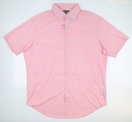 New Mens Peter Millar Button Up Large L Pink MS16EW03SS MSRP $134.99