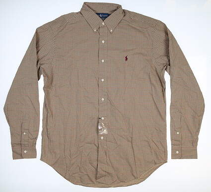 New Mens Ralph Lauren Golf Button Up Large L Tan 7932690 MSRP $84.99