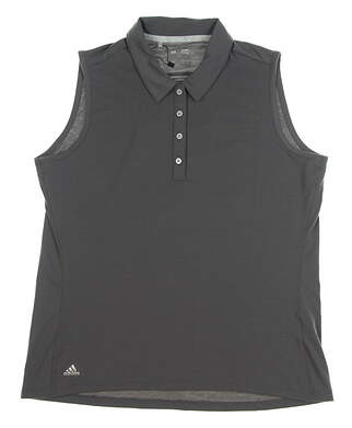 New Womens Adidas Cotton Hand Sleeveless Polo Large L Gray MSRP $60