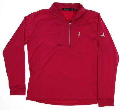New W/ Logo Womens Ralph Lauren 1/4 Zip Pullover X-Large XL Pink MSRP $100