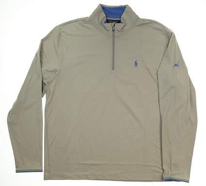 New W/ Logo Mens Ralph Lauren 1/4 Zip Pullover X-Large XL Gray MSRP $125