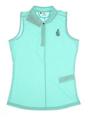 New W/ Logo Womens Under Armour Zinger Sleeveless Polo Medium M Blue/Navy MSRP $70