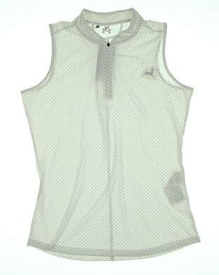 New W/ Logo Womens Under Armour Sleeveless Polo Medium M White/Navy Polka Dot MSRP $64.99