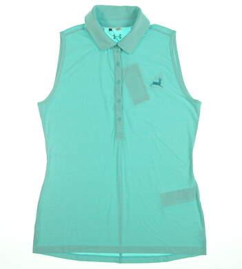 New W/ Logo Womens Under Armour Sleeveless Golf Polo Medium M Blue UW0455 MSRP $65