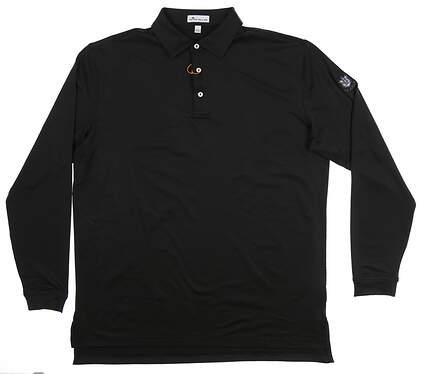 New W/ Logo Mens Peter Millar Golf Long Sleeve Polo Large L Black MSRP $96 MF18EK01SLS