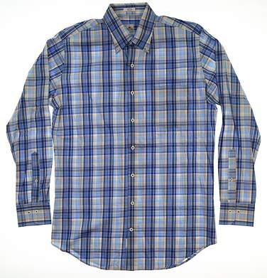 New Mens Peter Millar Button Up Medium M Blue MSRP $130