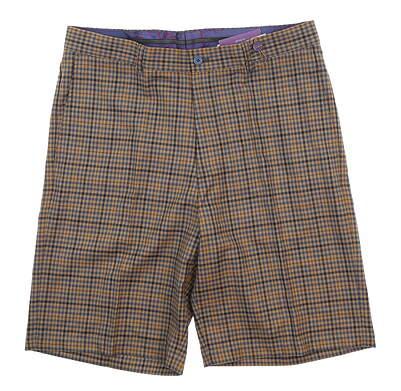 New Mens G-Mac Golf Shorts 36 Navy Blue/Flax Plaid MSRP $80