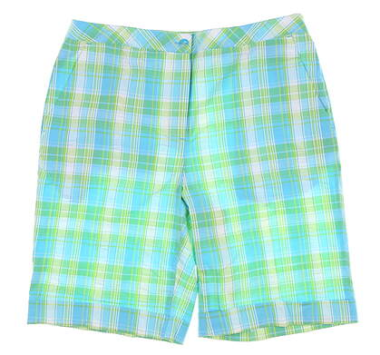 New Womens EP Pro Shorts 8 Blue Plaid 8641BD MSRP $80