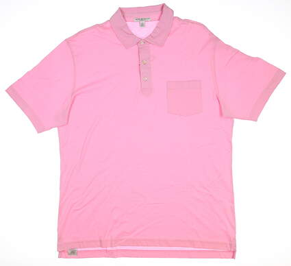New Mens Peter Millar Golf Polo Large L Pink MC00K21 MSRP $80