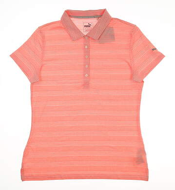 New Womens Puma Heather Stripe Polo Medium M Nrgy Peach MSRP $55 573296 03