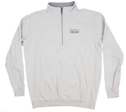 New Womens Straight Down 1/2 Zip Pullover Large L Light Grey MSRP $100