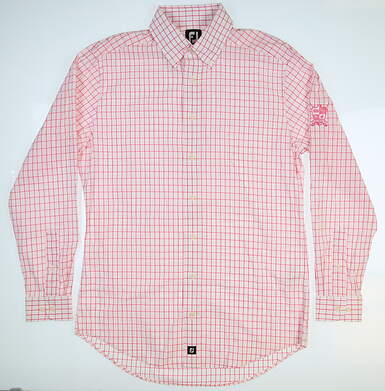 New W/ Logo Mens Footjoy Button Up Medium M Pink
