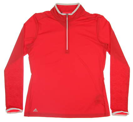 New Womens Adidas Printed UPF 1/2 Zip Pullover Large L Red MSRP $65 CW0585