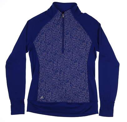 New Womens Adidas Golf 1/2 Zip Pullover Medium M Blue MSRP $100