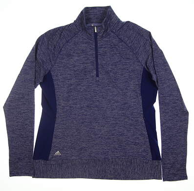 New Womens Adidas 1/2 Zip Pullover Large L Blue MSRP $77