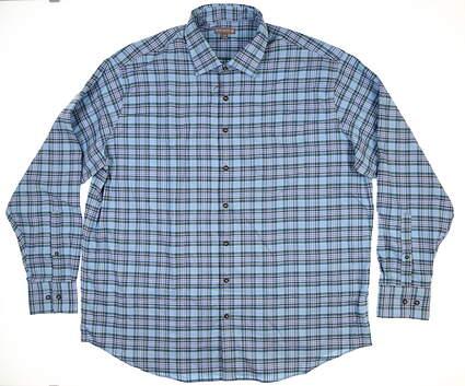 New Mens Peter Millar Button Up XX-Large XXL Blue MSRP $116