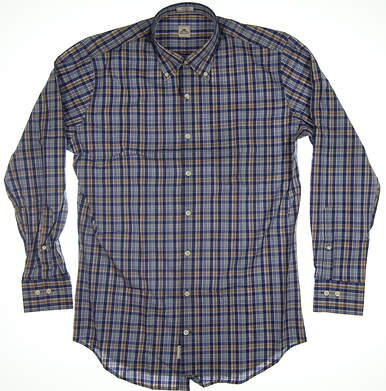 New Mens Peter Millar Button Up Medium M Blue MSRP $120