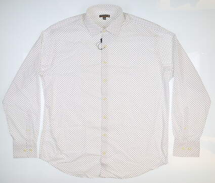 New Mens Peter Millar Button Up X-Large XL White MSRP $135 MS17EW10SL